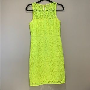 J. Crew Neon Yellow Lace Dress Sz. 6